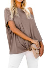 Apricot Off-The-Shoulder Slash Neck Casual Loose Fitting Top
