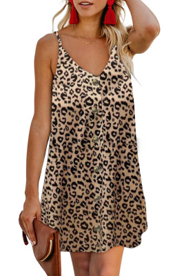 Leopard Pattern Buttoned Slip Cami Dress