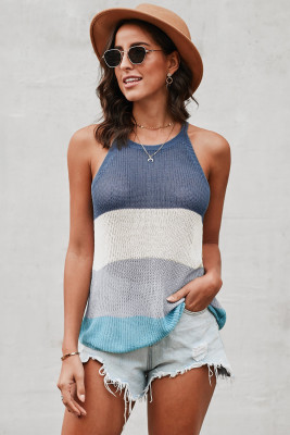 Blue Color Block Striped Knit Tank Top