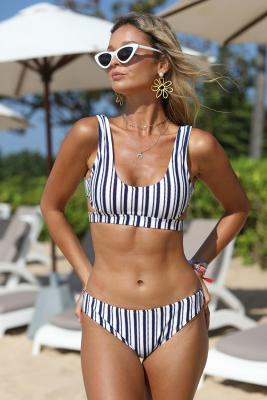 Striped Cut out Bikini