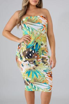 Обтягивающее платье с желтым тропическим принтом
