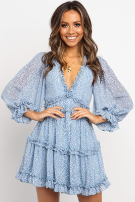 Sky Blue Ruffle Detailing Open Back Floral Dress