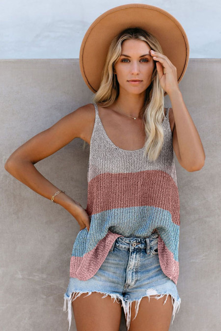 Multicolor Knitted Cami Tank Top