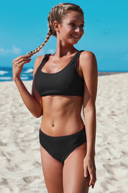 Black Scoop Neck Crop Top Mid Rise Bottom Two-piece Swimsuit