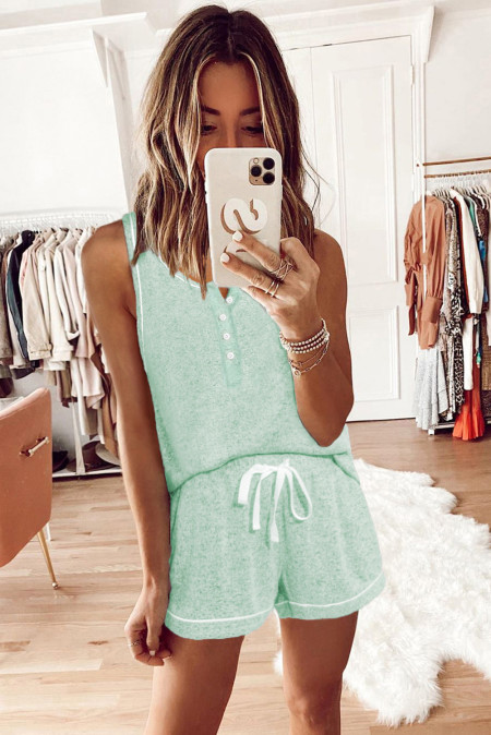 Green Knit Sleeveless Shorts Pajamas Set