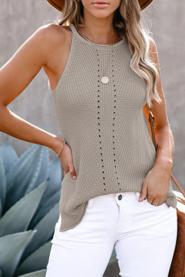 Gray Keyhole Knit Tank Top