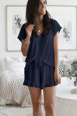 Blue Super Soft T-shirt Ruffle Shorts Pajamas Set