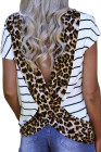 Stripe Brown Leopard Printed Open Back Short Sleeve T Shirt