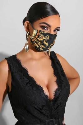 Retro Black Print Face Mask