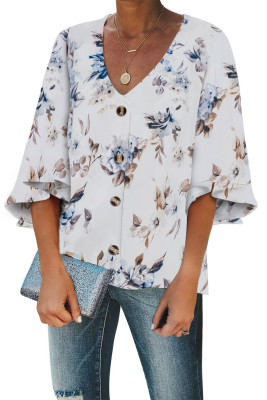 White Floral Print Button Down Blouse
