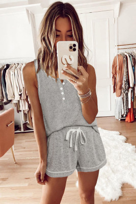 Gray Knit Sleeveless Shorts Pajamas Set