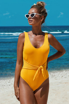 Yellow Scoop Neck Tie Waist Ribbed Women Maillot