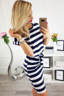 Navy Stripes Pocketed T-shirt Dress with Belt