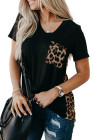 Leopard Printed Splicing T-Shirt