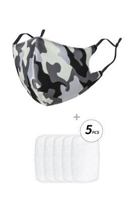 Masque anti-grippe imprimé camouflage avec filtres 5 pièces