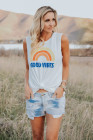 White Good Vibes O-Neck Rainbow Tank