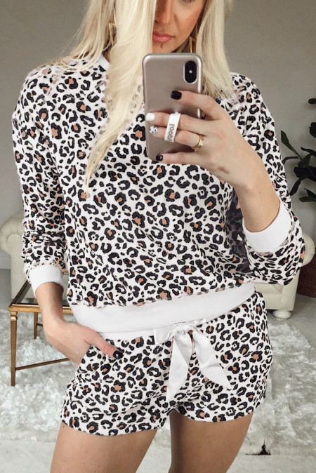 Leopard Long Sleeve Shorts Lounge Set
