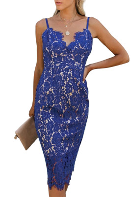 Blue Eyelash Lace Spaghetti Strap Midi Dress