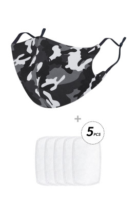 Gray Camo Print Anti Flu Mask With 5PCS Filters