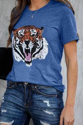 Camiseta azul con mezcla de algodón y tigre