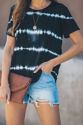 Black Tie Dye Stripes Basic T-shirt