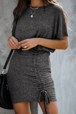Black Ruched Knit Dress