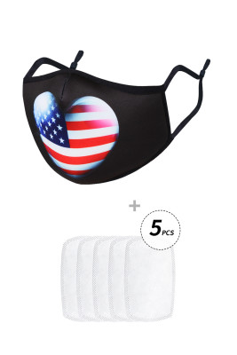 American Flag Print Reusable Washable Mask With 5pcs Filters