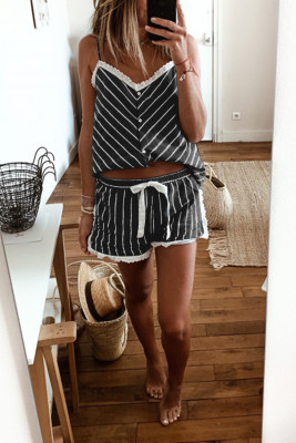 Black Stripes Frill Trim Cami Pajamas Set