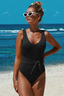 Black Scoop Neck Tie Waist Ribbed Women Maillot