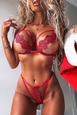 Red Embroidered Hollow Out Bikini Lingerie Set