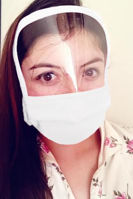 Masque de bouclier réutilisable lavable tout couvert blanc