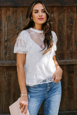 Take My Breath Away White Ruffle Lace Top