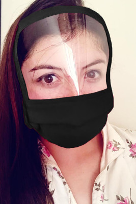 Black Reusable Washable All Covered Shield Mask