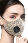 Brown Leopard Print Anti-Pollution Aktivkohle-Gesichtsmaske mit Atemventil