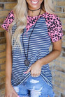 Pink Leopard Navy Stripe Fashion Top