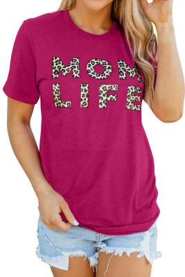 T-shirt rose imprimé léopard MOM LIFE
