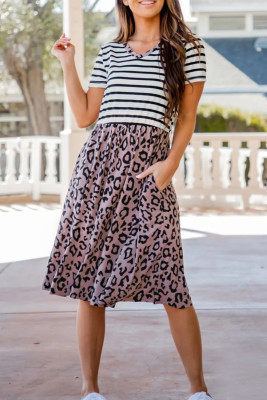 Striped Leopard Print Swing Dress