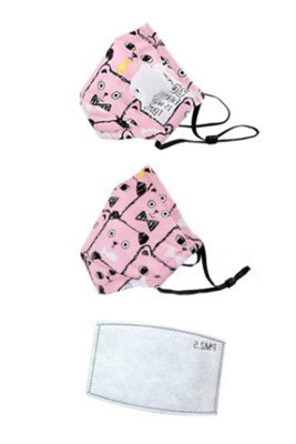 Pink Adjustable Cute Printed Washable Kids Mask with Breathing Valve
