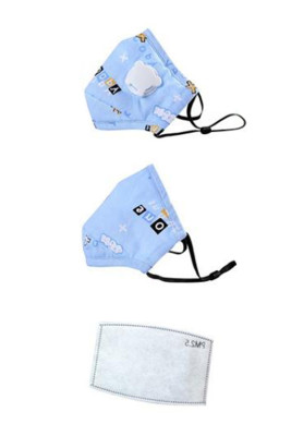 Masque lavable imprimé mignon bleu ciel réglable pour enfants avec valve respiratoire