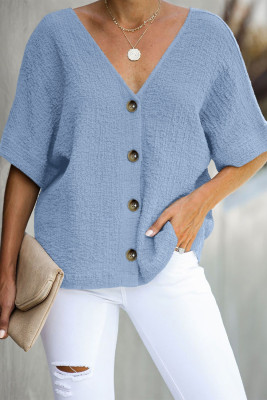 Sky Blue Soak It Up Cotton Button Down Blouse