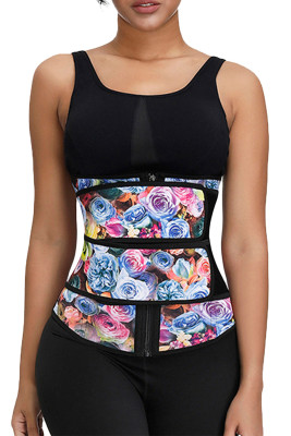 Floral Printing Compression Double Strap Latex Waist Trainer