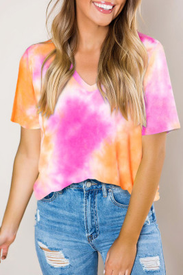 T-shirt orange dégradé Tie Dye col en V