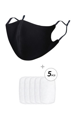Zwart anti-griepmasker met 5PCS-filters