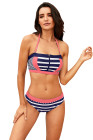 Pink Patch Striped Bustier Bikini Swimsuit