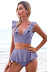 Purple Open Back Ruched Halter Top Shorts Tankini Set