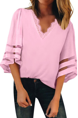 Pink V Lace Neckline 3/4 Bell Mesh Sleeves Blouse