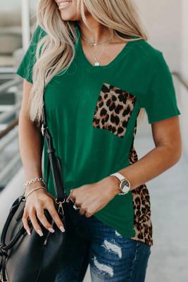 T-shirt d'épissage imprimé léopard vert