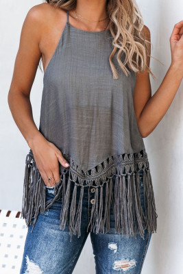 Global Girl Tassel Tank In Grijs