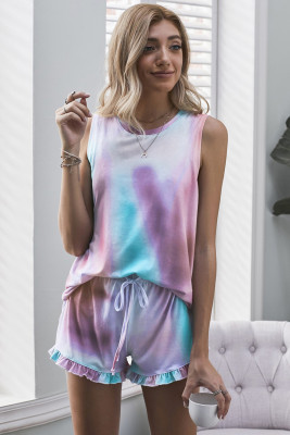 Multicolor Swingy Tank and Ruffled Shorts Loungewear