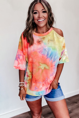 Tie Dye Print Kaltschulter Casual T-Shirt